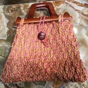 Vintage 1960's Straw Wood Handle Handbag - Haiti